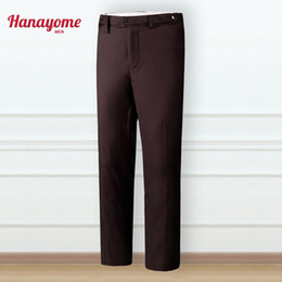 pantalones cargo marrón Rebajas Pantalones de traje a medida sin cargo Pantalones de color marrón puro para hombres Pantalones de ocio de moda SI82