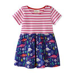 Lunghi abiti per ragazze corte online-La ragazza veste i vestiti lunghi a strisce lunghi dalla manica di stampa sveglia per i vestiti dei bambini della ragazza