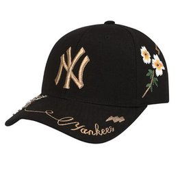 black water hat Promo Codes - 2018 Baseball Cap NY Embroidery Letter Sun Hats Adjustable Snapback Hip Hop Dance Hat Summer Outdoor Men Women White Black Navy Blue Visor