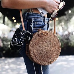 Wholesale Round Weave - INS Popular 2018 hot sale Vietnam Hand Woven Bag Round Rattan Straw Bags Bohemia Style Beach Circle Bag free shipping