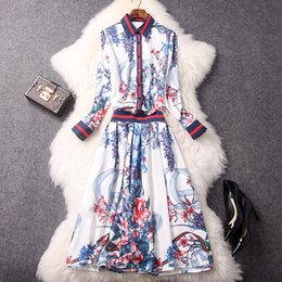 Wholesale blouse animals - Free Shipping New 2018 Women Sets Blouses+Skirt Suits Two pieces Shirts tops Sets Designer Wholesale Occident Luxury Dress Sets