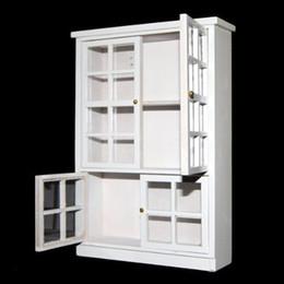 1/12 Scale Toy Casa De Bonecas Em Miniatura Mobiliário De Madeira Armário de Exibição Armário Prateleira Showcase Decoração Da Sala de Mini Modelo Presente Branco de