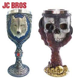 Wholesale White Goblets - Stainless Steel Gothic Halloween Party Drinking Goblet 3D Skull Skeleton Claw Wolf Head Personality Cup Wine Glasses Whiskey Cup
