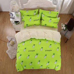 Wholesale white green quilt cover - Wholesale- 2017 New Cotton Bedding Sets Green Pineapple Fruit Style Livable Wind Bed Sheets Quilt Cover Pillowcase King Queen Full Twin