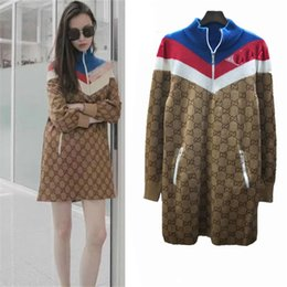 ladies long jersey Promo Codes - Technical Jersey Dress Wool Silk Multicolor Viscose Women Knitted Shirt Coat Outwear Sport Wear Ladies Long Street Style Dress
