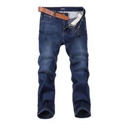Wholesale Men Jeans Work - Large Size 44 46 48 Plus Cashmere Men Jeans High Elastic Leisure Loose Dark Blue Trousers Work Breathable Pant Winter Models