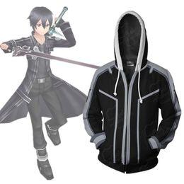 Азиатский размер Япония аниме меч искусство онлайн Кирито косплей костюм 3D с длинным рукавом молнии пальто куртка балахон от Поставщики 3d куртки