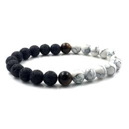 Wholesale Blue Rope Bracelets - 8mm Volcanic lava stone green blue white Howlite stone tiger eye stone beads bracelet homme jewelry 2018 for men women B18075