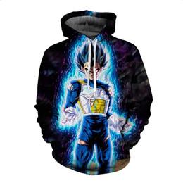 Wholesale Dragon Ball Sweatshirt - Anime Hoodies Dragon Ball Z Pocket Hooded Sweatshirts Goku Vegeta 3D Hoodies Pullovers Men Women Long Sleeve Outerwear New Hoodie