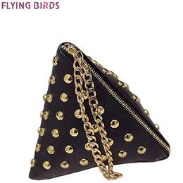 Wholesale bird locked - FLYING BIRDS women clutch rivet leather bags Triangular zipper bag ladies purse party bags high quality handbag 2017 LM4361fb
