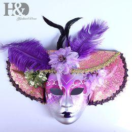 2019 máscaras roxas para bola de máscaras Chapéu de Penas HD Full Face Masquerade Máscara Venetian, Roxo, Mardi Gras Traje Lindo Mask Masquerade Máscaras Máscaras Decoração Da Parede Arte máscaras roxas para bola de máscaras barato