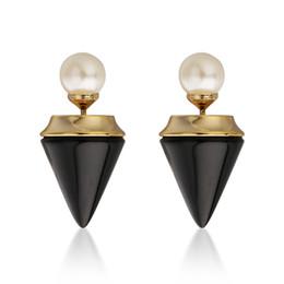 Wholesale Pearl Diamond Earrings 14k - Italy Vita Cone Pearl Earring Women Titan Pendant Necklace Woman Diamond Punk Chain High Quality