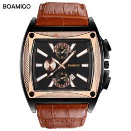 Reloj de la marca boamigo online-BOAMIGO marca hombres relojes de cuarzo dial grande moda reloj de pulsera de cuero marrón correa de reloj automático fecha regalo reloj relogio masculino