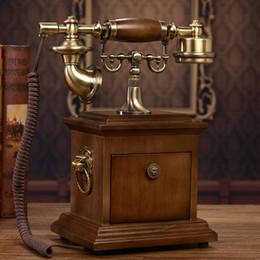 telefone de casa rosa quente Desconto Oferta especial República Popular da China de madeira maciça rotativa de disco de telefone antigo telefone de discagem retro Chinês antigo telefone fixo em casa