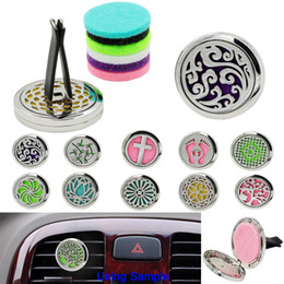 Wholesale car aromatherapy diffuser wholesale - Aromatherapy Car Vent Essential Oil Diffuser For Car Locket Clip with 5PCS Washable Felt Pads free shipping