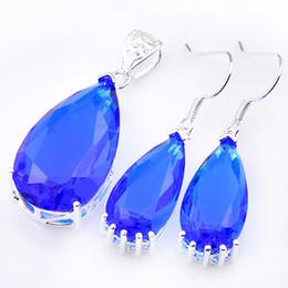Wholesale Topaz Sterling 925 Silver Bracelet - Trend Style 925 Silver Fashion Jewelry Set Wedding Drop Fire Swiss Blue Topaz Earrings Pendants Wholesale Jewelry Sets