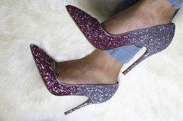 style wedding glitter Promo Codes - 2018 new style Color glitter gradient pumps high heel shoes Women pointed toe fine heel lady wedding footwear