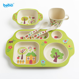 Wholesale train sets for kids - 5pcs set baby tableware natural bamboo fiber dinnerware dish bowl plate cup set for training feeding kids with cartoon painting