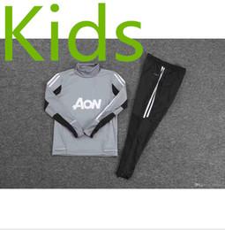 Wholesale Kids Boys Sweaters - 2017 2018 KIDS POGBA football tracksuit training kits Soccer 17 18 LUKAKU united jacket training pant sweater suit Grey factory Outlet