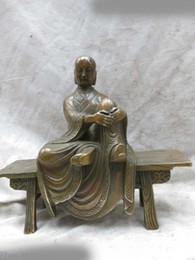 Wholesale Buddha Brass Statue - DS Brass sculpture China carved fine copper buddhism buddha wooden bench Statue