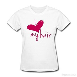 check hair Coupons - Summer 2018 New Love My Hair Length Check Women's T-Shirt Short Sleeve Crew Neck Fashion