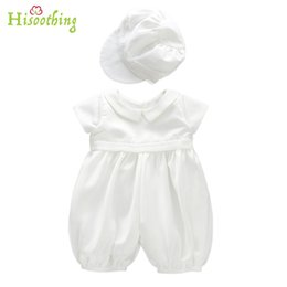 Wholesale baby boy gowns - Baby boy Girl Baptism Gown Christening Dress Birthday Dress Boy Baby Robe Flower Lace lingerie hat suit set wholesale