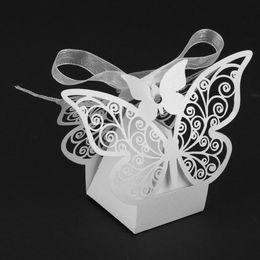Wholesale Decor Butterflies Weddings - 50pcs lot Hollow Sugar Carton Box Love Heart Candy Boxes Decor Butterfly White Candy Box Packaging Snack Wedding Supplies