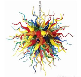 Wholesale Discount Modern Art - 110 220v AC Led 100% Handmade Murano Glass Chandelier Lighting Big Discount Bedroom Modern Pendant Lamp