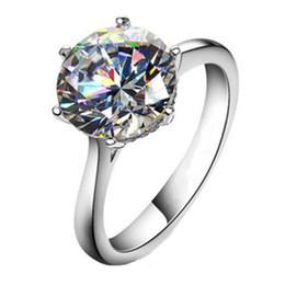 Nscd synthetische diamantringe online-Echte Sterling Silber 4CT Runde NSCD Synthetische Diamanten Frauen Ehering Ausgezeichnete Qualitätsgarantie Briliant Forever S923