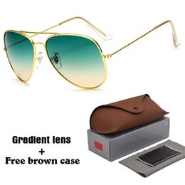 Wholesale free black metal - High quality Aviator Sunglasses Men Women Brand Designer Driving glasses UV400 Goggle Metal Frame gradient Lenses with free brown cases
