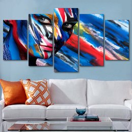 Wholesale modern face oil painting canvas - Painting Print Style Wall Modular HD 5 Pieces Girl Face Art Canvas Pictures For Living Room Cuadros Modern Framework Decoration