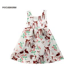 a821bfb4ac56 Veados dos desenhos animados Impresso Verão Casual Plissado Mini Vestido  Sem Mangas De Cintura Alta Da Criança Do Bebê Meninas FloralAnimal Holiday  Party ...