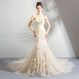 2019 weiße koreanische hochzeitskleider Meerjungfrau Spitze 2018 Perlen Brautkleider Schatz Tulle Hand gemacht Blumen Brautkleider Sexy Günstige Brautkleider
