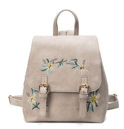 Canada Nouveau 2018 femme sac à dos brodé en cuir PU mode ethnique coloré fleurs brodées double sac à bandoulière en gros livraison gratuite Offre