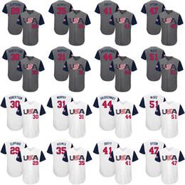 Wholesale Usa Shorts Men - custom Men's youth women USA 35 Eric Hosmer 31 Daniel Murphy 29 Tyler Clippard 30 David Robertson Gray 2017 World Baseball Classic jersey