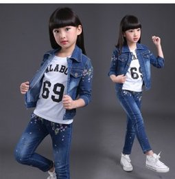 Wholesale Little Korean Girl Clothes - Korean version of the 2018 new spring and autumn loaded girl cowboy casual suit children's clothing little girl clothes aged 10 broken flowe