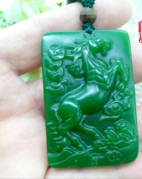 Xinkeng Xinjiang Hetian jade jasper immediately money pendant outer Mongolian spinach green Zodiac horse pendant jade wholesale