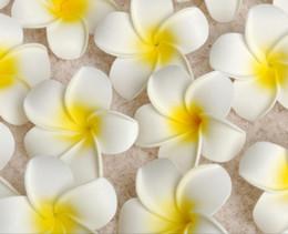 2020 frangipani espuma flor Casamento 100 Pçs / lote 4 cm Atacado Plumeria Hawaiian Foam Flor Frangipani Para Festa de Casamento Decoração bouquet de flores desconto frangipani espuma flor