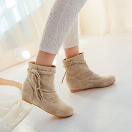 Wholesale Rubber American - 2018 Big Size Fashion Style American Trade Tassels Snow Martin Ankle Women Boots Shoes 7.5 35 42 Free Shipping