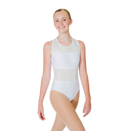 2019 giacche da ginnastica nere Dancer's Choices Black Gymnastics Bianco Cotone / Lycra con Canotta in Maglie Body per danza classica per donne e uomini giacche da ginnastica nere economici