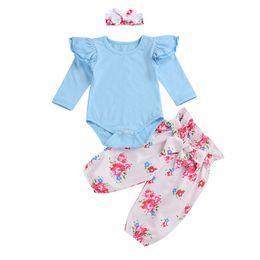 Симпатичные детские повязки онлайн-0-24M Newborn Baby Girl Clothes Set Pretty Infant Baby Girl  Sleeve Romper Tops+Floral Printed Bow Pants Headband 3Pcs Outfit