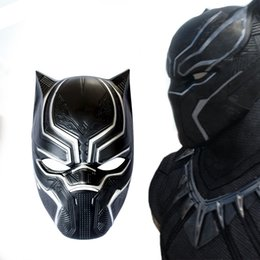 Wholesale Super Man Costume Party - Wholesale-new Black Panther Masks Movie Fantastic Four Cosplay Men's Latex Party Mask for Carnaval Purim Halloween