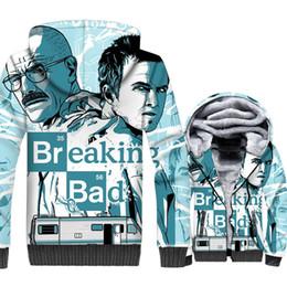 heisenberg hoodie UK - Breaking Bad Jacket Heisenberg Hoodie Men Walter White Sweatshirt Winter Thick Fleece Zip up 3D Print Coat Hipster Sportswear