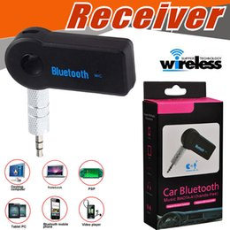 Wholesale Bluetooth Wireless Music Receiver - Universal 3.5mm Bluetooth Car Kit A2DP Wireless FM Transmitter AUX Audio Music Receiver Adapter Handsfree Mic For Phone MP3 With Retail Box