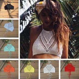 2afb2c1751673 Handmade White Women Crochet Lace Bralette Knit Bra Boho Beach Bikini  Halter Cami Tank Crop Top