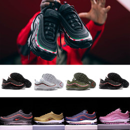 Wholesale Air Engraving - 2018 High Qulity Air 97 OG 20th Anniversary Engraved White Mens Basketball Shoes Men Women Running Shoes Size Us 5.5-12