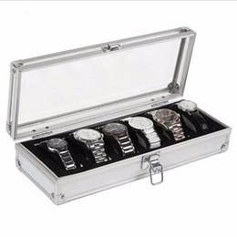 Boite d'affichage à montres en Ligne-Boîte de montre 6 Grille Insérer Slots Bijoux Montres Affichage Boîte De Rangement Cas En Aluminium Bijoux Décoration Enrouleur