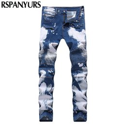 Wholesale Beat Man - 2018 designer men's printing force repair personality jeans beat a zipper hole shallow blue fashion trousers men
