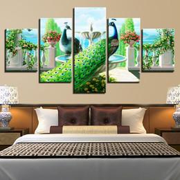 Картины павлина онлайн-Модульный домашний декор Холст плакат HD напечатал 5 штук Павлиньи пары Картины Стены Art Garden Fountain Pictures для гостиной