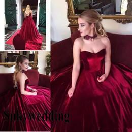 espartilho de veludo Desconto Elegante Borgonha Velvet Dresses Prom querida mangas bola Vestidos Lace Up Corset Pageant Vestido Plus Size Partido Evening Formal Wear